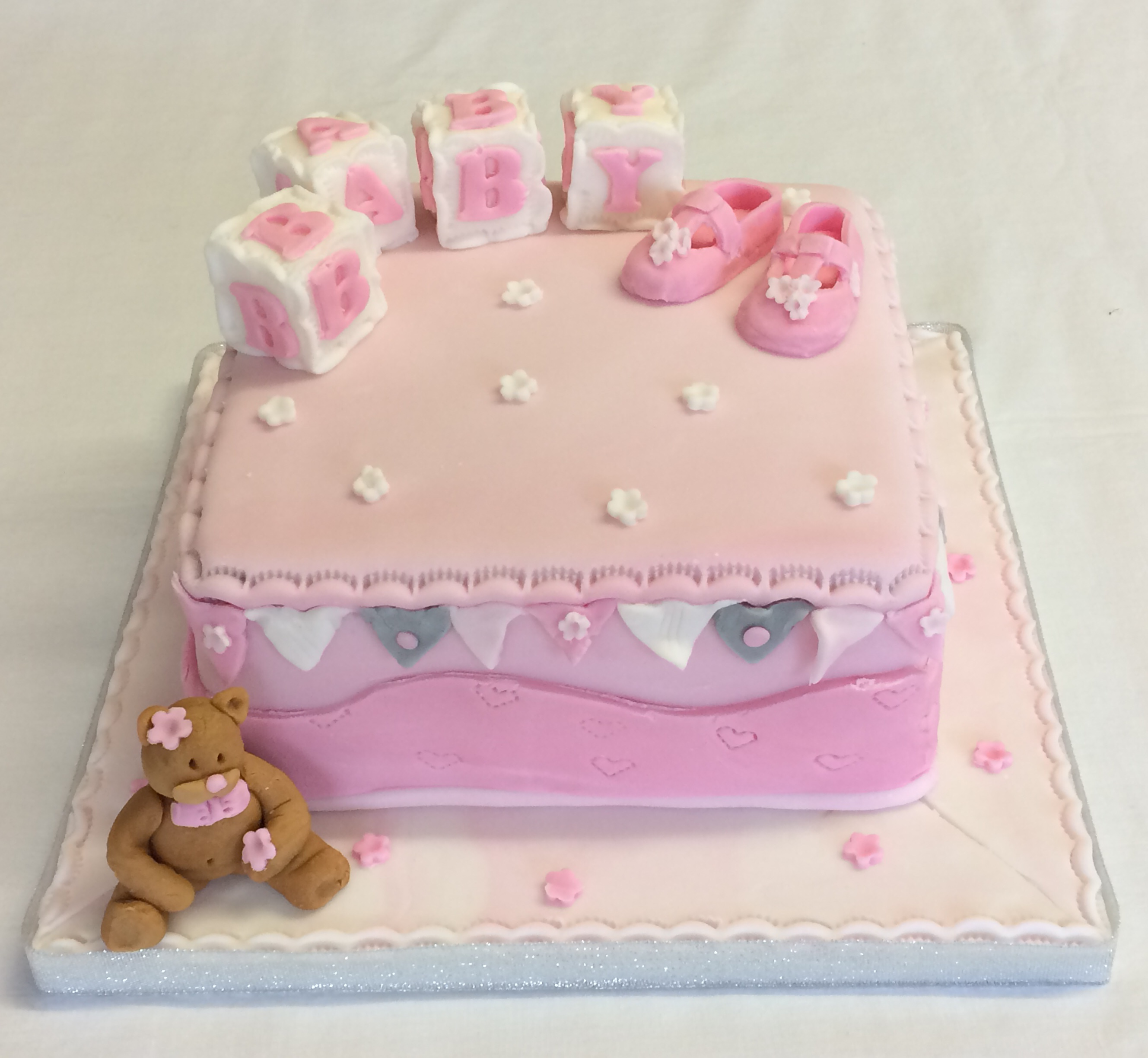 Baby Shower Cake With Bootees The Cake Box